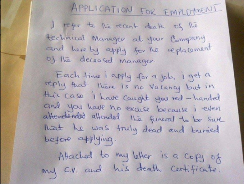 Application Letter of a frustrated applicant